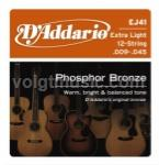 D'Addario EJ41 Phosphor Bronze Acoustic Guitar Strings  - 12 String Extra Light 9-45