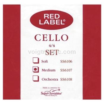 SS6117A 4/4 Cello Single A String - Super Sensitive Red Label