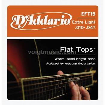 EFT15 D'Addario Acoustic Guitar Strings Phosphor Bronze - Flat Tops Extra Light 10-47